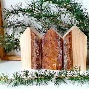 święta, 3 domki z korą, domki, kora, las, domek, eko