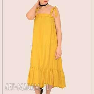 żółta sukienka z falbanką, wiazana, ramiączka, falbanka, marszczona, rozkloszowana