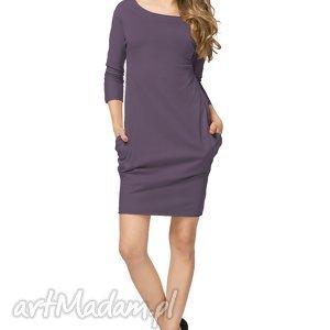 Sportowa sukienka z kieszeniami T181, fioletowa, sukienka, sportowa, bawełniana