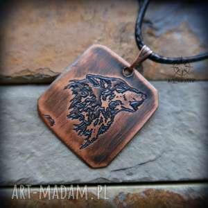 męska wisior z trawionej miedzi - wilk mini, wilk, wilki, wisior, miedź, miedziany