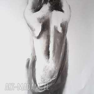 nude, duży-obraz-kobieta, duża-grafika-kobieta, rysunek-węglem, kobieta-akt