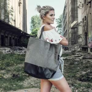 Duża szara torba na ramie, torba-na-zamek, torba-duża, pojemna, torba-kobieca