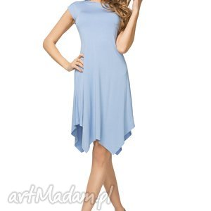 sukienki letnia sukienka z asymetrycznym dołem t137, niebieski, sukienka