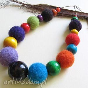 multicolor - naszyjnik z filcu - korale, naszyjnik, filc, drewno, filcowy