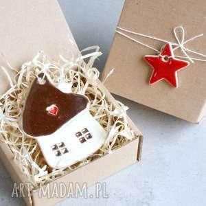 zawieszka ceramiczna, domek, zawieszka, święta, choinka, serce dekoracje, świąteczne