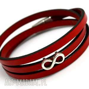 ręczne wykonanie bransoletka skórzana magnetoos triple infinity red