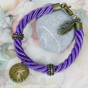 Prezent Anioł, anioł, aniołem, bransoletka, fioletowa, sznur, prezent