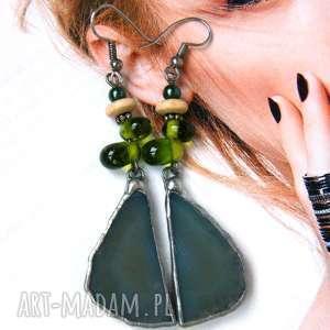 kolczyki zielone z agatem