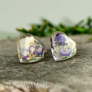 wkrętki mini serduszka z prawdziwymi kwiatami k78