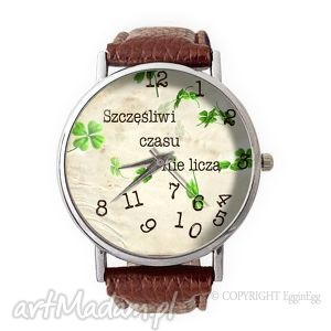 hand-made zegarki szczęśliwi czasu nie liczą - skórzany zegarek z dużą tarczą