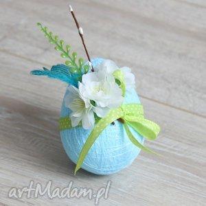 dekoracje niebieska pisanka kwiaty piórka, wielkanoc, jajko, pisanka, romantyczna