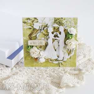 handmade scrapbooking kartki kartka ślubna w pudełku, 449
