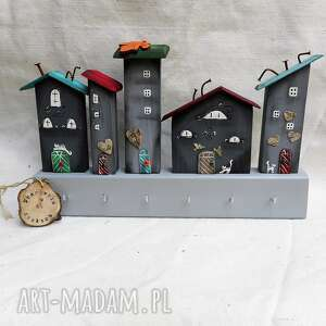 wieszak szare domki no 1, dom domki, drewniany, do powieszenia, malowane