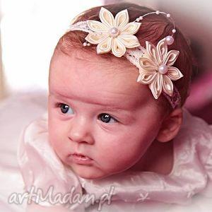 opaska dla dziewczynki z kwiatuszkami, opaska, włosy, prezent, chrzest