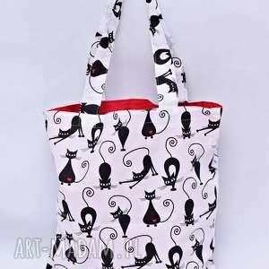 torba na zakupy ekologiczna shopperka koty serca, torba, zakupy, shopperka