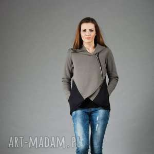 bluza damska, asymetryczna basa, bluza, kurtka, asymetryczna, z kapturem, duże