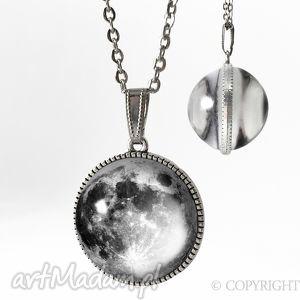 naszyjniki kulisty dwustronny medalion pełnia księżyca - 0108sps, medalion, naszyjnik