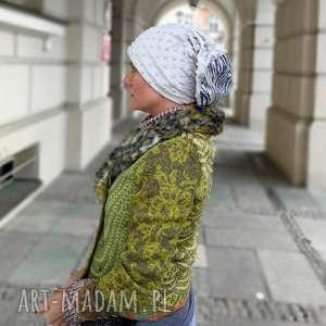 czapka damska szaro niebieska zimowa dresowa smerfetka, czapka, etno, boho, dzianina