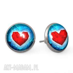 serca - kolczyki wkrętki - walentynkowy, prezent sztyfty, serce