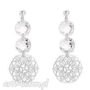 srebrne kolczyki z rozetką i kryształami swarovski crystal, kolczyki, rozety