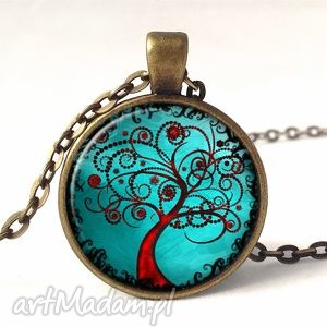drzewo miłości - medalion z łańcuszkiem - czerwone