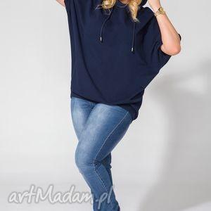 Bluza PS 4 granatowy ONE SIZE, PLUS bluza, dresowa, dzianina, kaptur, szeroka