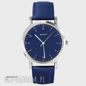 zegarek, bransoletka - simple elegance granatowy, skórzany, skórzany