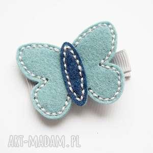 spinka do włosów motylek tiffany blue, motylek, filc, ozdoba, wiosna, spinka