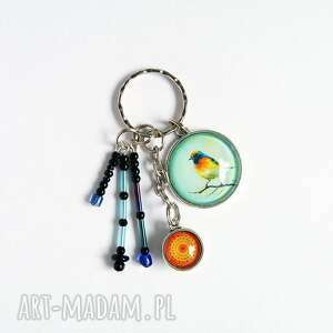 breloczek - ptak kolorowy, mandala, breloczek, do kluczy, ptak, mandala