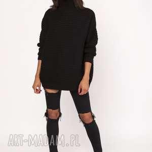 swetry sweterek - golf, swe116 czarny, sweter, sweterek, ciepły, oversize