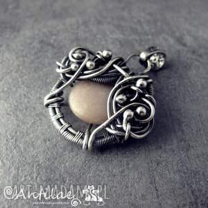 hand-made wisiorki quyosh - kamień słoneczny, srebro, wire wrapping