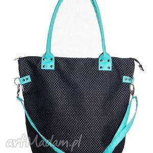 torba worek plecionka black aquamarine, torba, torebka, czarna, plecionka, miejska