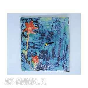Ceramiczny zegar ścienny 21 cm x 23 kwiatowy oryginalny prezent