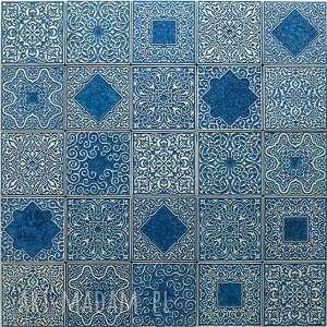 ręcznie zrobione ceramika kafle szaroniebieskie arabeski, zestaw 25 sztuk