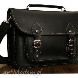 ręcznie wykonane teczki torba z czarnej ekoskóry na laptopa 17
