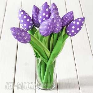 Prezent TULIPANY fioletowy bawełniany bukiet, Pantone 2018, kolor roku tulipany