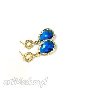 kolczyki kryształ capri blue, pozłacane, kolczyki, niebieskie, hit, blue