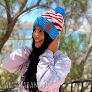 czapki czapka print zebra wild blue, w zebrę, jesienna, modna