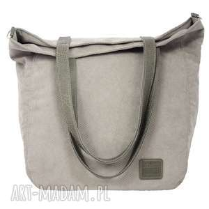 Prezent Duża jasnoszarobeżowa torba na zamek 2713, torba, torebka, torba-na-ramię