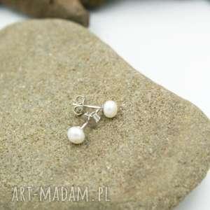 kolczyki srebrne wkrętki z perłą naturalną, kolczyki, srebrne, wkrętki, perły