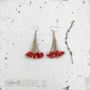 koral czerwony kolczyki, kolczyki długie, wiszące, czerwone
