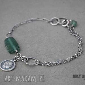 bransoletka mini ze szkłem antycznym ii, srebro, antyczne, szkło