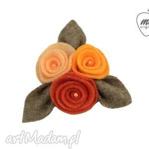 mela broszka filcowa ulio kwiaty liście -orange filc, ozdoba, prezent