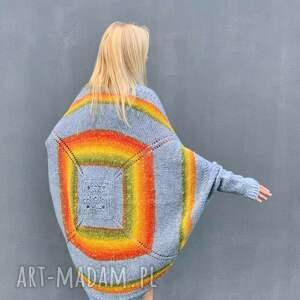 kolorowy sweter z alpaki ponczo, ponczo, kolorowe wełny
