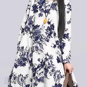 sukienka oversize w kwiaty, sukienka, klasyk, len, etno, preent, pod choinkę