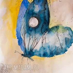 NOCNY MOTYL praca akwarelą i piórkiem artystki plastyka Adriany Laube, motyl