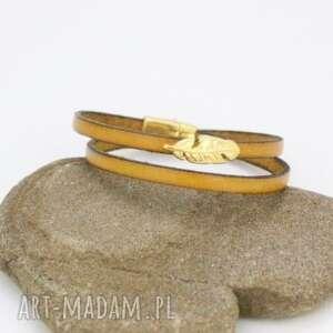 hand-made bransoletki bransoletka skórzana musztardowa
