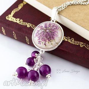 Medalion z prawdziwym kwiatem wrzosowy, medalion, wisior, prawdziwy, kwiat, koraliki
