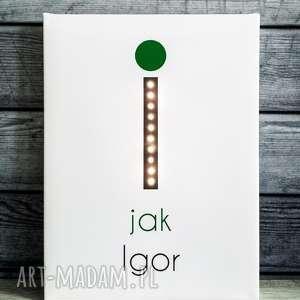 świecąca litera i z imieniem prezent lampka obraz, litera, prezent, imię