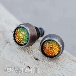 Drobinki dichroiczne kolczyki srebrne d020-b artseko mini